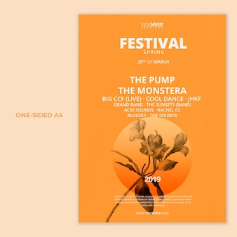 Un modello a4 unilaterale con il concetto del festival di primavera