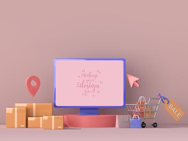 Consegna online con modello di mockup di computer con pacchetto di consegna