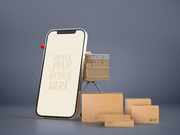 Consegna online con modello di mockup di smartphone con pacchetto di consegna
