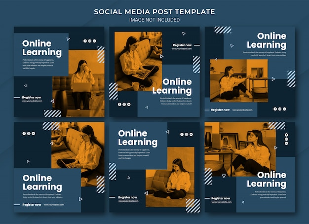 Modello di pacchetto di post di instagram per l'apprendimento online