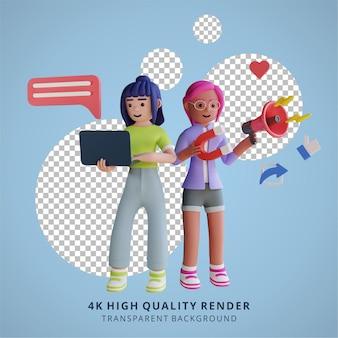 Rendering 3d dell'illustrazione delle vendite dei social media del team di marketing online