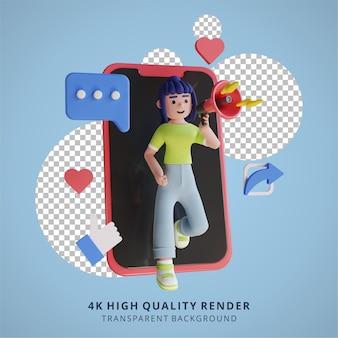 Marketing online con rendering 3d dell'illustrazione dello smartphone