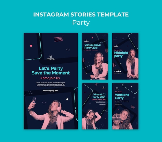 Pacchetto di storie sui social media di feste online
