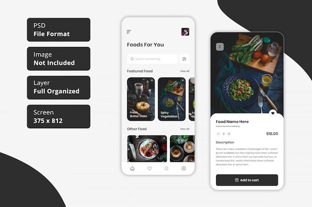 Ordine di cibo del ristorante online e progettazione dell'interfaccia utente dell'app per la consegna di cibo