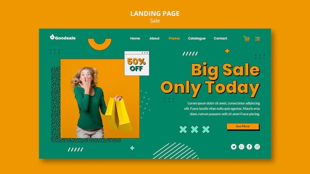 Modello di pagina di destinazione per la vendita online