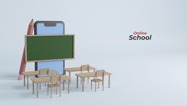 Formazione scolastica online su smartphone mobile 3d rendering