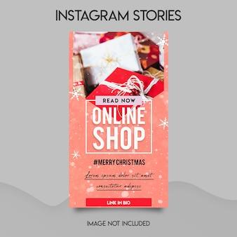 Negozio online di social media e modello di storie di instagram