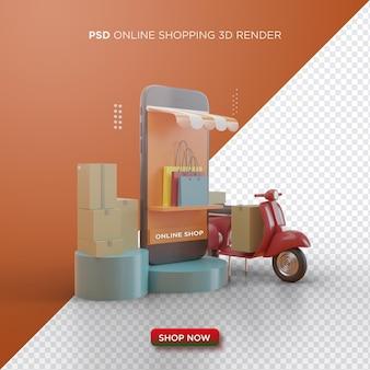 Lo shopping online 3d rende con smartphone nero e rosso vespa