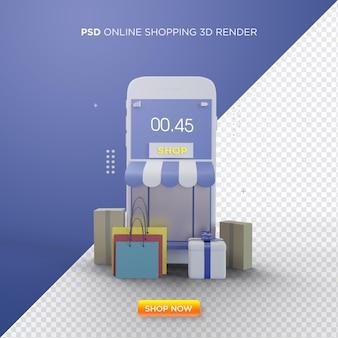 Lo shopping online 3d rende con l'illustrazione di un negozio di smartphone