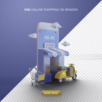 Lo shopping online 3d rende con negozio di smartphone e kuning vespa
