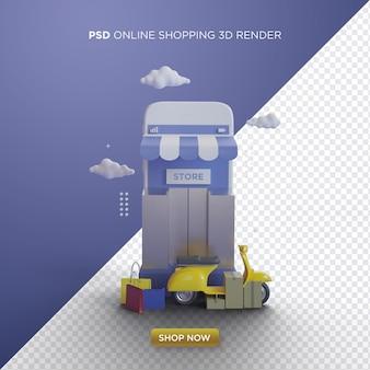 Lo shopping online 3d rende con una persona di consegna vespa gialla