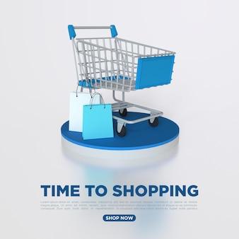 Rendering 3d dello shopping online con rubinetti dello shopping per i social media