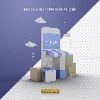 Rendering 3d dello shopping online con smartphone e prodotti online