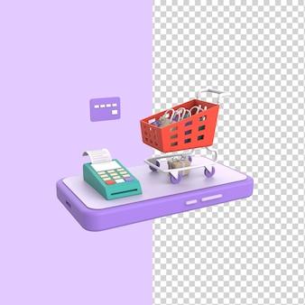 Carrello della spesa online su ruote con terminale di pagamento telefonico e concetto di modello di rendering 3d della carta di credito