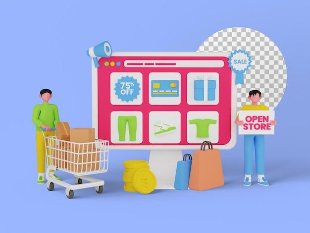 Concetto di shopping online, marketing digitale sul sito web, illustrazione 3d