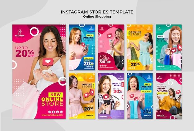 Modello online di storie del instagram di concetto di acquisto