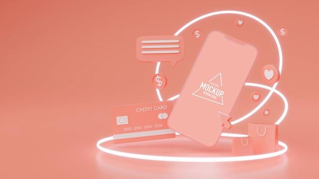 Concetto di shopping online, smartphone con schermo mock-up circondato da personaggi su sfondo rosa, rendering 3d, illustrazione 3d