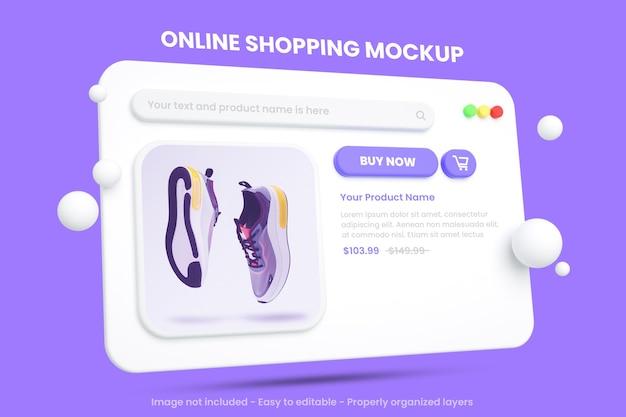 Mockup di e-commerce dello shopping online isolato