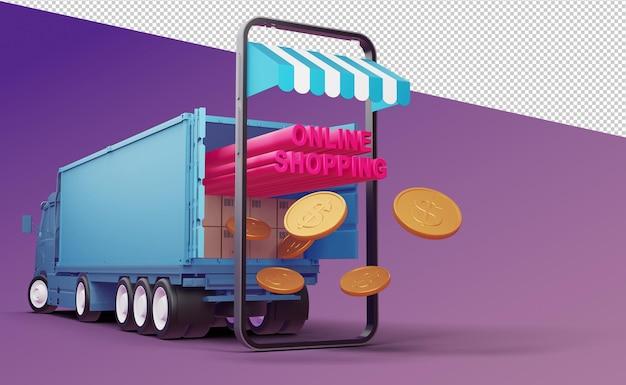 Shopping in linea rendering 3d di applicazioni mobili
