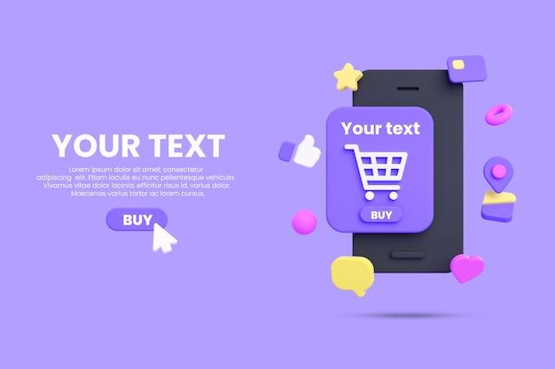 Shopping online mobile o mockup di e-commerce isolato