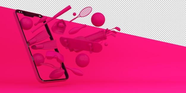 Acquisti in linea attrezzature sportive rendering 3d di applicazioni mobili