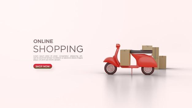 Acquisti online con una moto di consegna rendering 3d