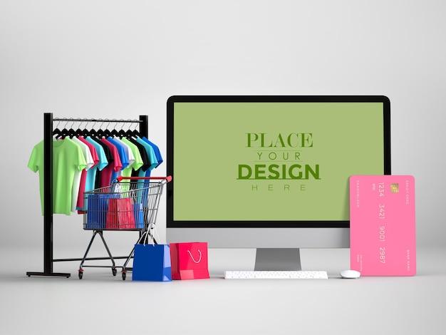 Shopping online con modello di computer mockup ed elementi di acquisto