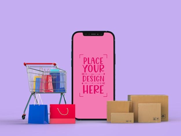 Shopping online con modello di mockup di elementi mobili e di acquisto