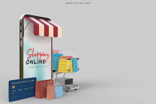 Shopping online con modello di mockup di smartphone