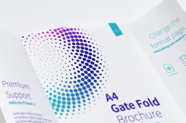 Open gate fold brochure mockup