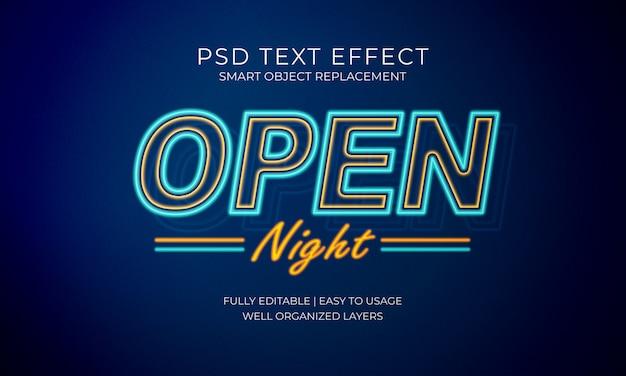 Effetto testo al neon aperto