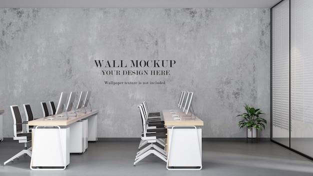 Mockup di parete dell'area di lavoro dell'ufficio aperto