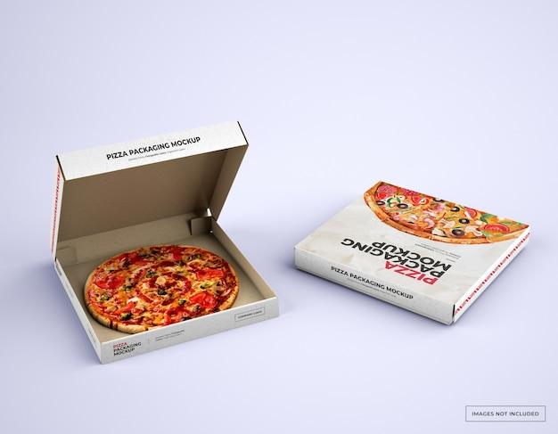 Mockup di imballaggio scatola pizza aperta