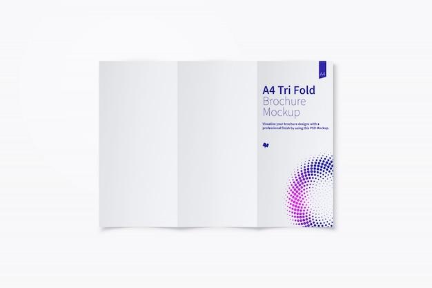Brochure a tre ante aperta mockup exterior