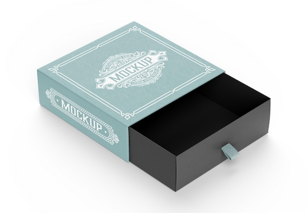 Mockup 3d di scatola di cartone aperta