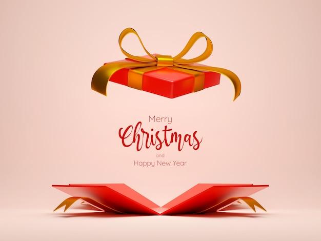 Confezione regalo di natale aperta per la pubblicità del prodotto, illustrazione 3d