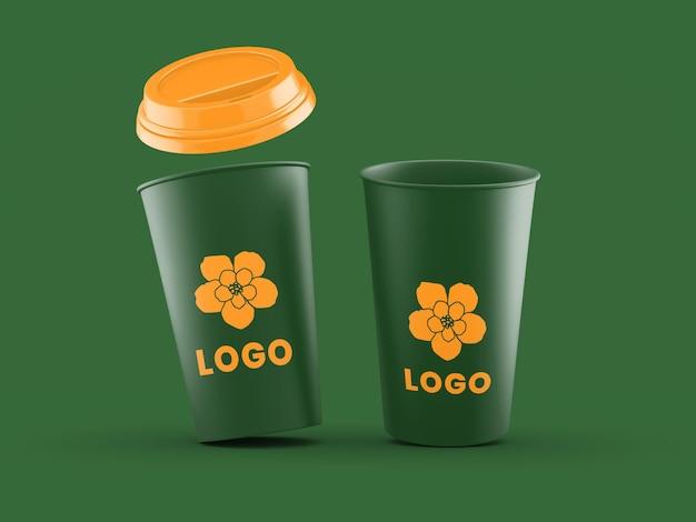 Modello di mockup della tazza di plastica del caffè aperto