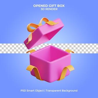 Confezione regalo aperta rendering 3d isolato premium psd