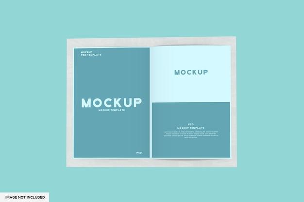 Aperto rivista o brochure mockup modello vista dall'alto