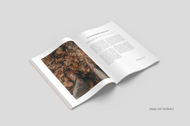 Mezza vista laterale aperta del mockup della rivista