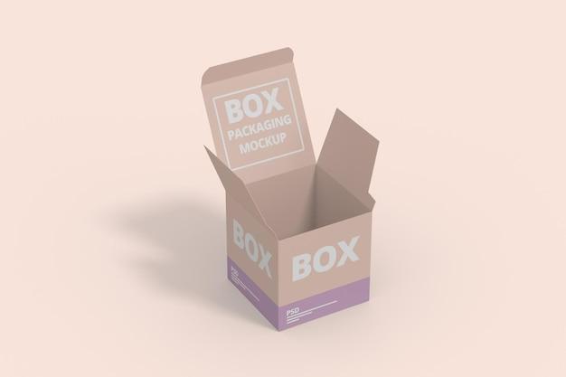 Mockup di scatola quadrata aperta