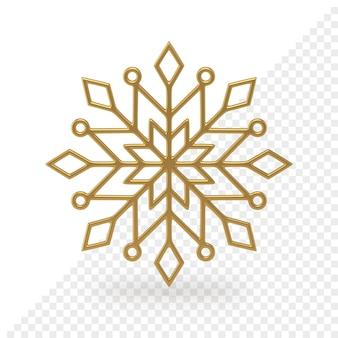 Il fiocco di neve di natale dorato traforato 3d rende. modello di decorazione d'interni festivo. ornamento geometrico con trafori di ghiaccio. ornamento lineare a forma di stella intrecci. elemento di cristallo creativo.