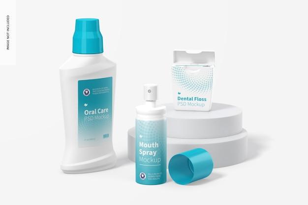 Mockup di scena di igiene orale, prospettiva