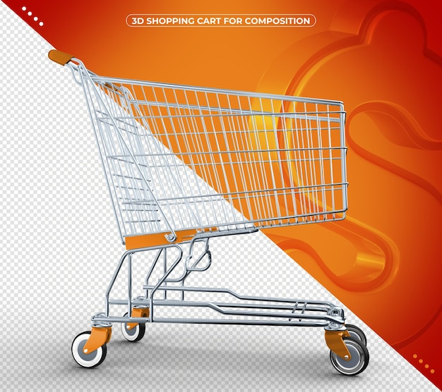 Carrello della spesa arancione 3d