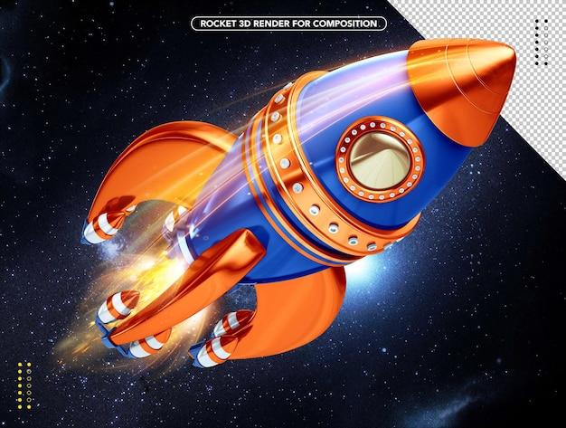 Razzo 3d realistico arancione e blu che vola sopra la testa