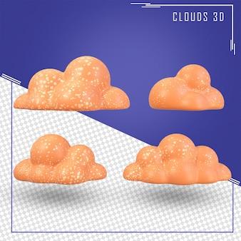 Nuvole arancioni 3d con glitter