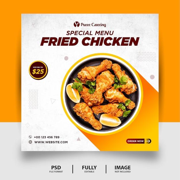 Banner di post sui social media alimentari di colore arancione