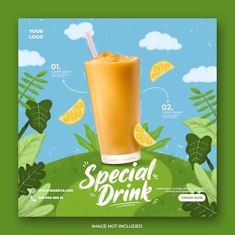 Modello di instagram di social media di promozione del menu di bevanda arancione
