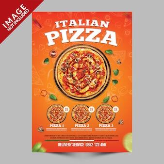 Modello poster arancione pizza italiana