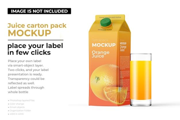 Mockup di confezione di cartone di succo d'arancia